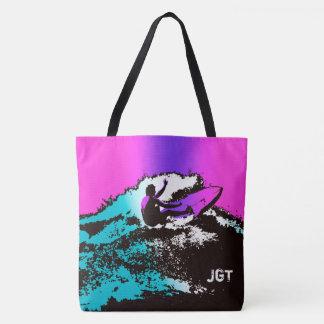 Groovy Hawaiian Surfer 60s Retro MonogramBeach Bag