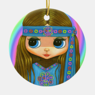 Groovy Hippie Chick in blue Peace Sign Cute Ceramic Ornament