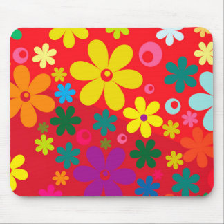 Groovy Hippie Colorful Flowers Love Peace Pattern Mouse Pad
