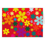 Groovy Hippie Colourful Flowers Love Peace Pattern Greeting Card