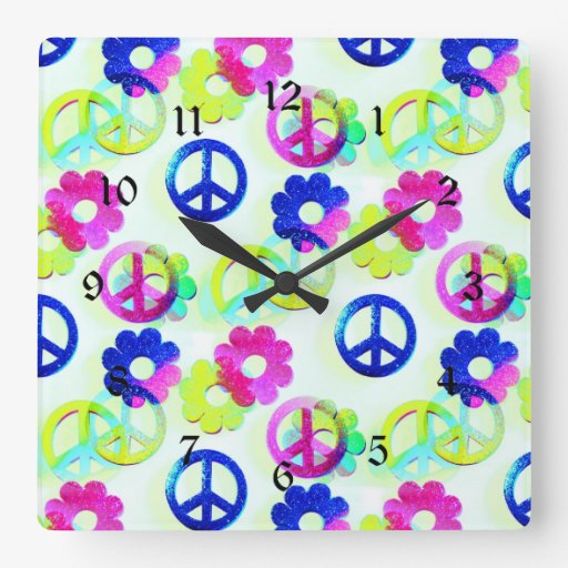 Groovy Hippie Peace Signs Flower Power Aqua Square Wall Clocks