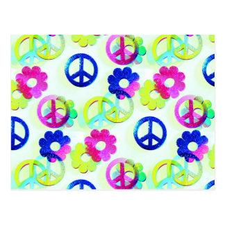 Groovy Hippie Peace Signs Flower Power Aqua Postcard