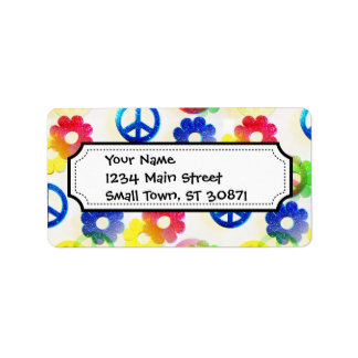Groovy Hippie Peace Signs Flower Power Sparkle Address Label
