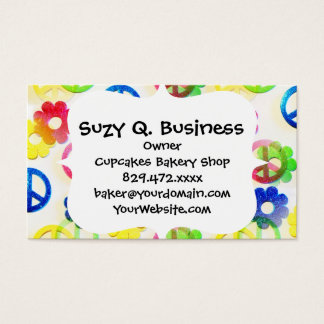 Groovy Hippie Peace Signs Flower Power Sparkle Business Card