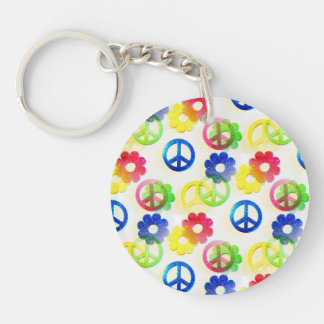 Groovy Hippie Peace Signs Flower Power Sparkle Double-Sided Round Acrylic Key Ring