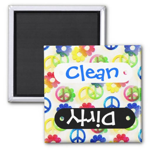 Groovy Hippie Peace Signs Flower Power Sparkle Refrigerator Magnet