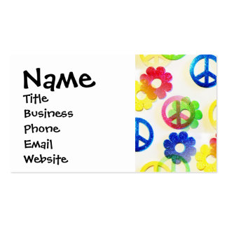 Groovy Hippie Peace Signs Flower Power Sparkle Pack Of Standard Business Cards