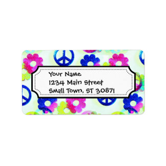 Groovy Hippie Peace Signs Flower Power Sparkle Pat Address Label