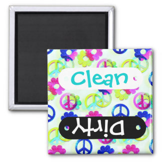 Groovy Hippie Peace Signs Flower Power Sparkle Pat Square Magnet