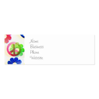 Groovy Hippie Peace Signs Flower Power Sparkles Business Card Template