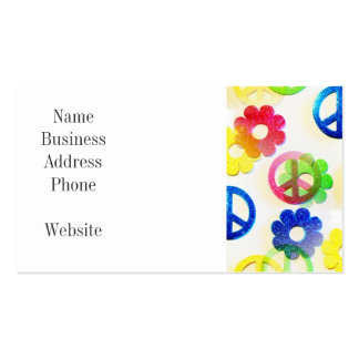 Groovy Hippie Peace Signs Flower Power Sparkles Pack Of Standard Business Cards