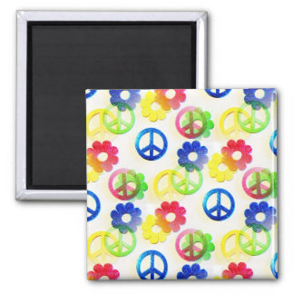 Groovy Hippie Peace Signs Flower Power Sparkles Square Magnet