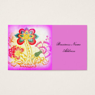 groovy hippie-style palm tree pink business card