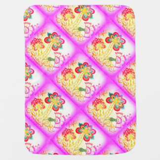 groovy hippie style pink palm tree baby blanket