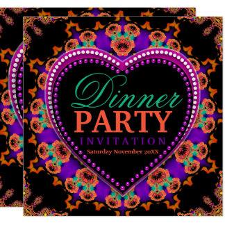 Groovy Hippy Love Bohemian Dinner Party Card