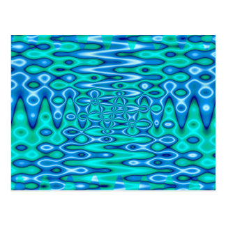groovy horizon blue postcard