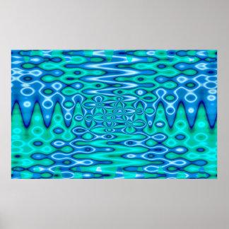 groovy horizon blue posters
