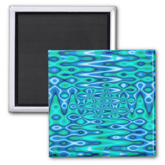 groovy horizon blue square magnet