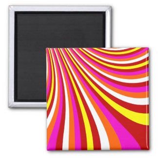 Groovy Hot Pink Red Yellow Orange Stripes Pattern Square Magnet
