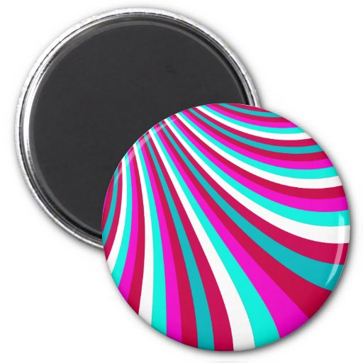 Groovy Hot Pink Teal Rainbow Slide Stripes Pattern Fridge Magnet