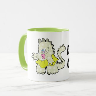 Groovy Little Green Dino Gal Two tone Mug
