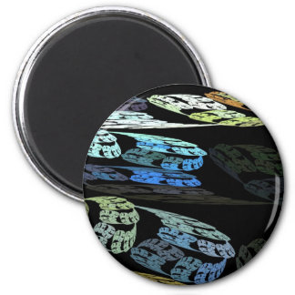 Groovy Luminous Blue Swirls Pattern Shapes Design 6 Cm Round Magnet