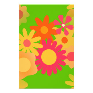 groovy mod floral stationery