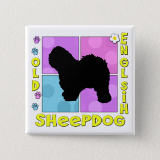 Groovy Old English Sheepdog 15 Cm Square Badge