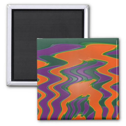 groovy orange purple fridge magnets
