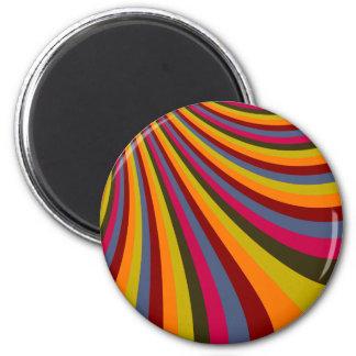 Groovy Orange Red Pink Green Rainbow Slide Stripes Fridge Magnets
