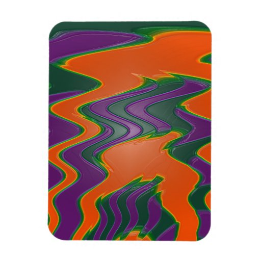 groovy orange wave abstract rectangular magnets