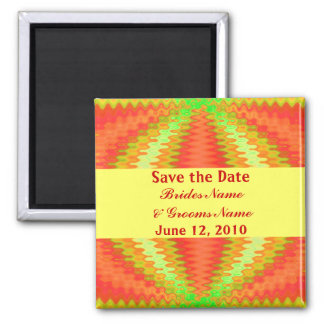 groovy orange yellow save the date square magnet