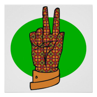 Groovy Peace Hand Symbol Vintage Poster 60s 70s