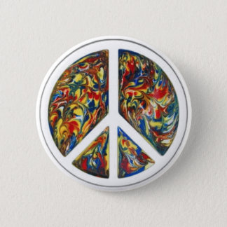 groovy peace sign 6 cm round badge