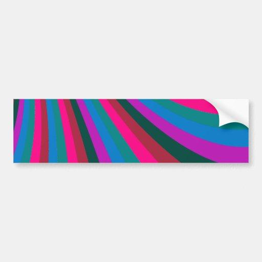 Groovy Pink Blue Rainbow Slide Stripes Pattern Bumper Stickers