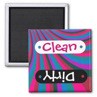 Groovy Pink Blue Rainbow Slide Stripes Pattern Square Magnet
