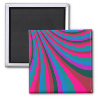Groovy Pink Blue Rainbow Slide Stripes Pattern Square Magnet