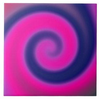 Groovy Pink Blue Swirl Abstract Tile