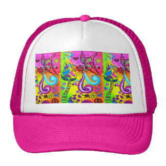 groovy pink flower power hat