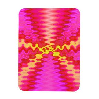 groovy pink yellow abstract rectangular photo magnet