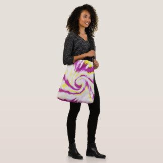 Groovy Pink Yellow White Swirl Abstract Crossbody Bag