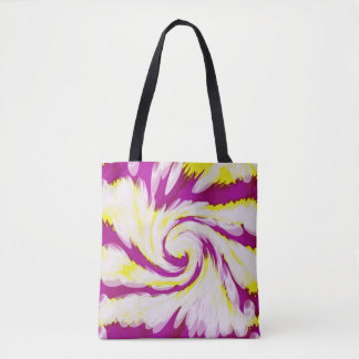 Groovy Pink Yellow White Swirl Abstract Tote Bag