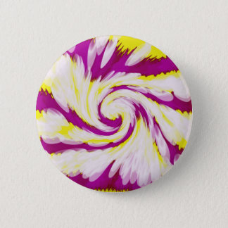 Groovy Pink Yellow White Tie Dye Swirl Abstract 6 Cm Round Badge