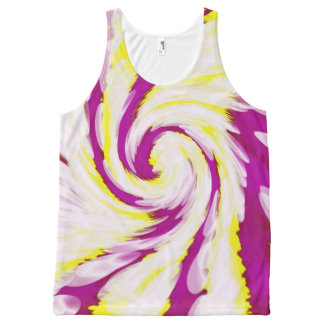 Groovy Pink Yellow White Tie Dye Swirl Abstract All-Over Print Singlet
