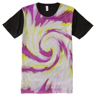Groovy Pink Yellow White Tie Dye Swirl Abstract All-Over Print T-Shirt