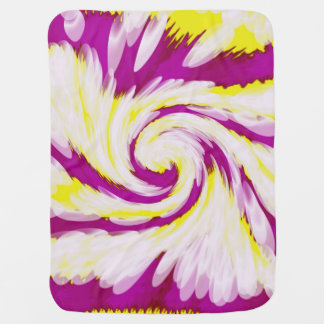 Groovy Pink Yellow White Tie Dye Swirl Abstract Baby Blanket