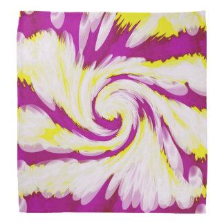 Groovy Pink Yellow White Tie Dye Swirl Abstract Bandana
