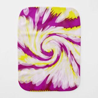 Groovy Pink Yellow White Tie Dye Swirl Abstract Burp Cloth