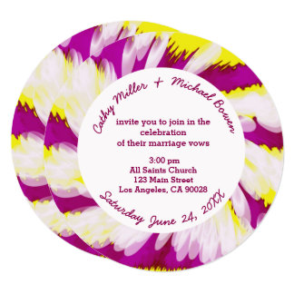 Groovy Pink Yellow White Tie Dye Swirl Abstract Card