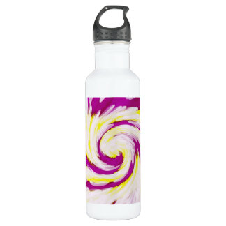 Groovy Pink Yellow White TieDye Swirl Abstract 710 Ml Water Bottle